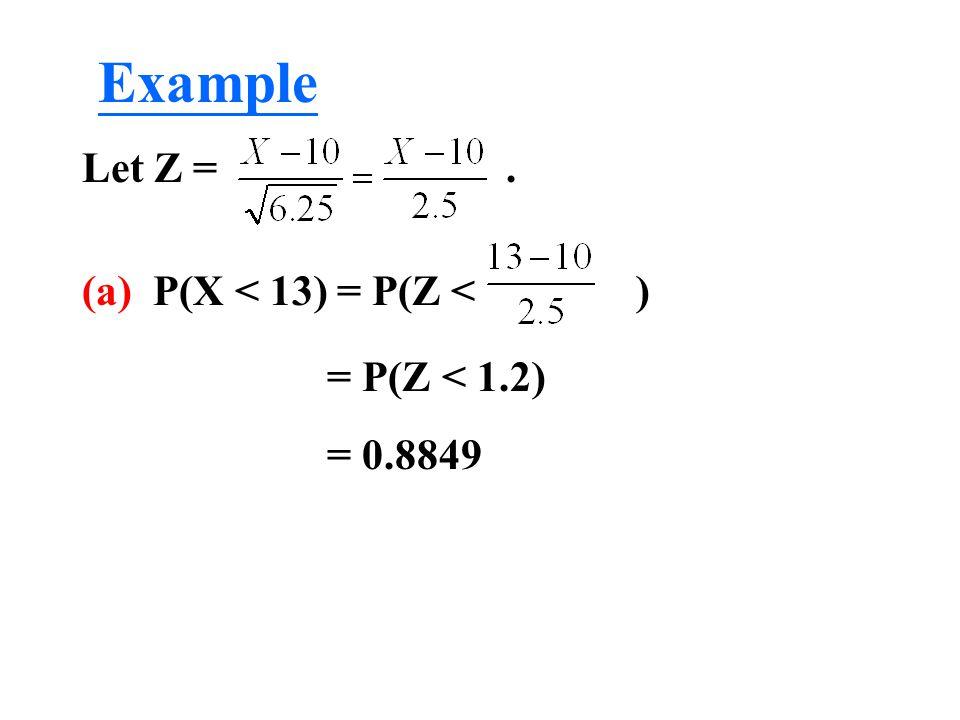 Let Z =. (a) P(X < 13) = P(Z < ) = P(Z < 1.2) = 0.8849 Example