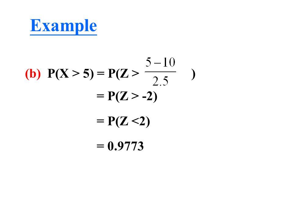 (b) P(X > 5) = P(Z > ) = P(Z > -2) = P(Z <2) = 0.9773 Example