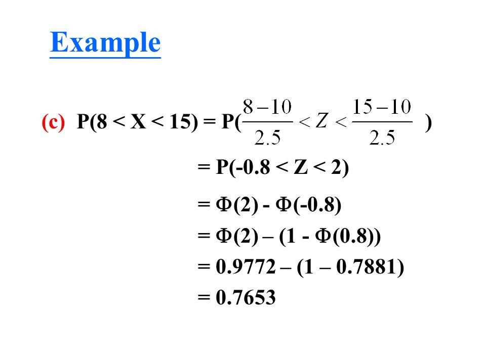 (c) P(8 < X < 15) = P( ) = P(-0.8 < Z < 2) =  (2) -  (-0.8) =  (2) – (1 -  (0.8)) = 0.9772 – (1 – 0.7881) = 0.7653