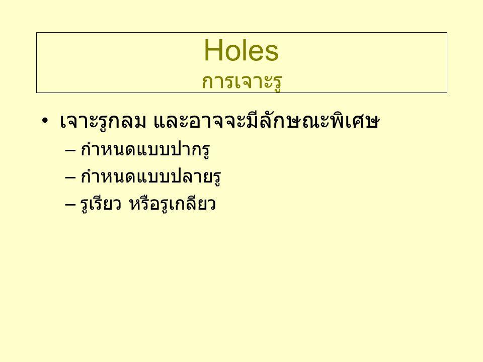 Holes การเจาะรู เจาะรูกลม และอาจจะมีลักษณะพิเศษ – กำหนดแบบปากรู – กำหนดแบบปลายรู – รูเรียว หรือรูเกลียว