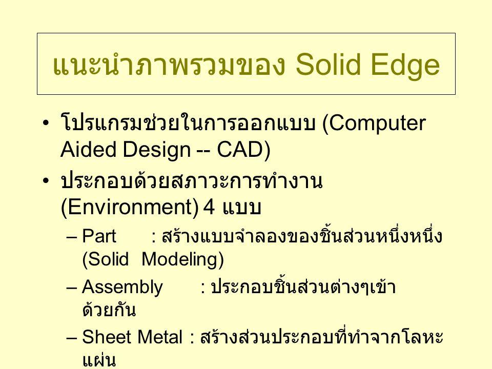 Graphical User Interface Menu Bar เหมือนกับโปรแกรมอื่นๆ Main Toolbar ประกอบด้วยปุ่มคำสั่ง ต่างๆที่ใช้บ่อย Environment Specific Toolbar – ทางซ้ายมือ มีปุ่มคำสั่งต่างๆ กันตามแต่สภาวะ การทำงานขณะนั้น Feature Ribbon Bar ขั้นตอน, ทางเลือก ต่างๆ ของคำสั่งที่ทำงานอยู่ Working Area บริเวณทำงานและแสดง ภาพ Status Bar คำอธิบายคำสั่ง, ข้อมูล เกี่ยวกับคำสั่ง