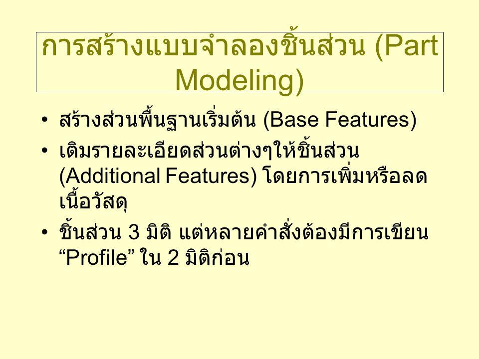 การสร้างแบบจำลองชิ้นส่วน (Part Modeling) สร้างส่วนพื้นฐานเริ่มต้น (Base Features) เติมรายละเอียดส่วนต่างๆให้ชิ้นส่วน (Additional Features) โดยการเพิ่ม