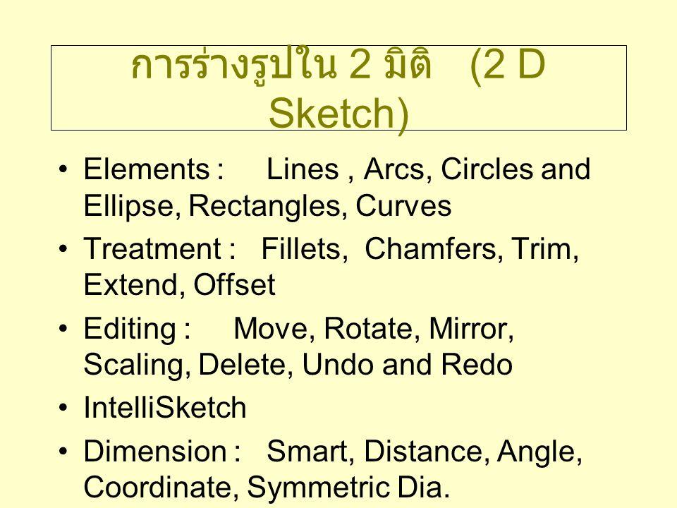 การร่างรูปใน 2 มิติ (2 D Sketch) Elements : Lines, Arcs, Circles and Ellipse, Rectangles, Curves Treatment : Fillets, Chamfers, Trim, Extend, Offset E