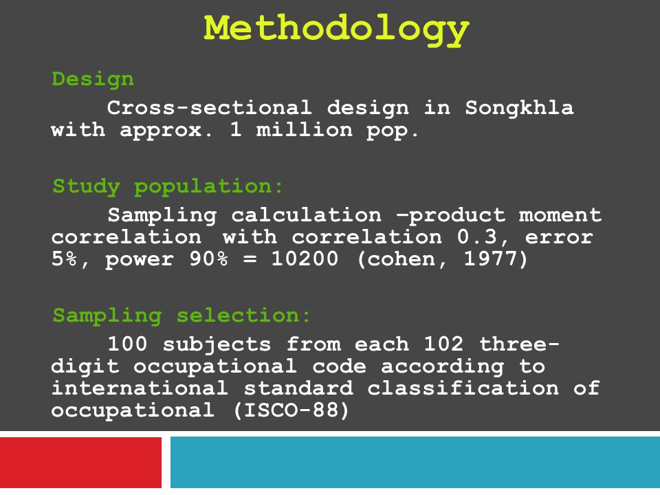 Methodology Design Cross-sectional design in Songkhla with approx.
