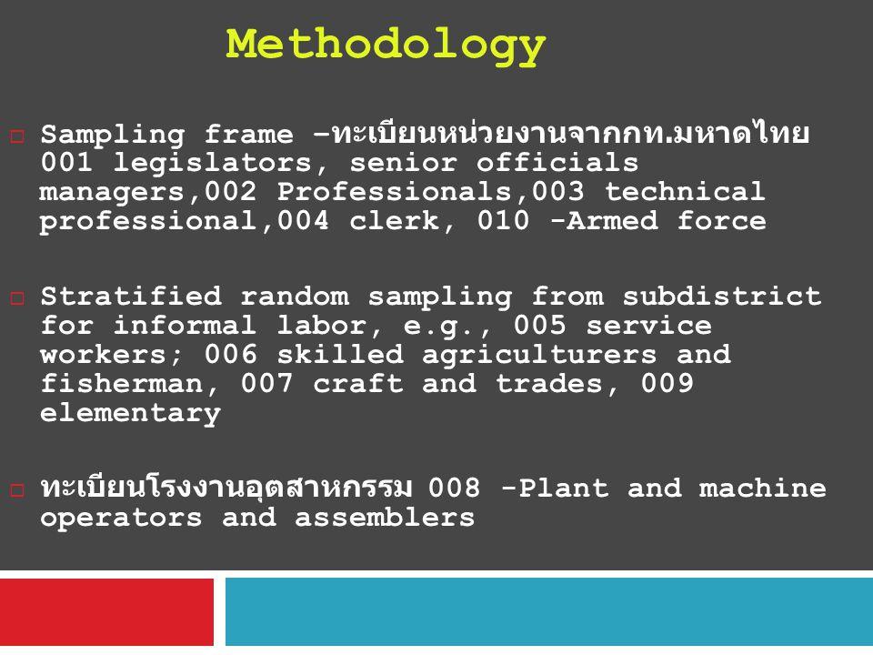  Sampling frame – ทะเบียนหน่วยงานจากกท. มหาดไทย 001 legislators, senior officials managers,002 Professionals,003 technical professional,004 clerk, 01