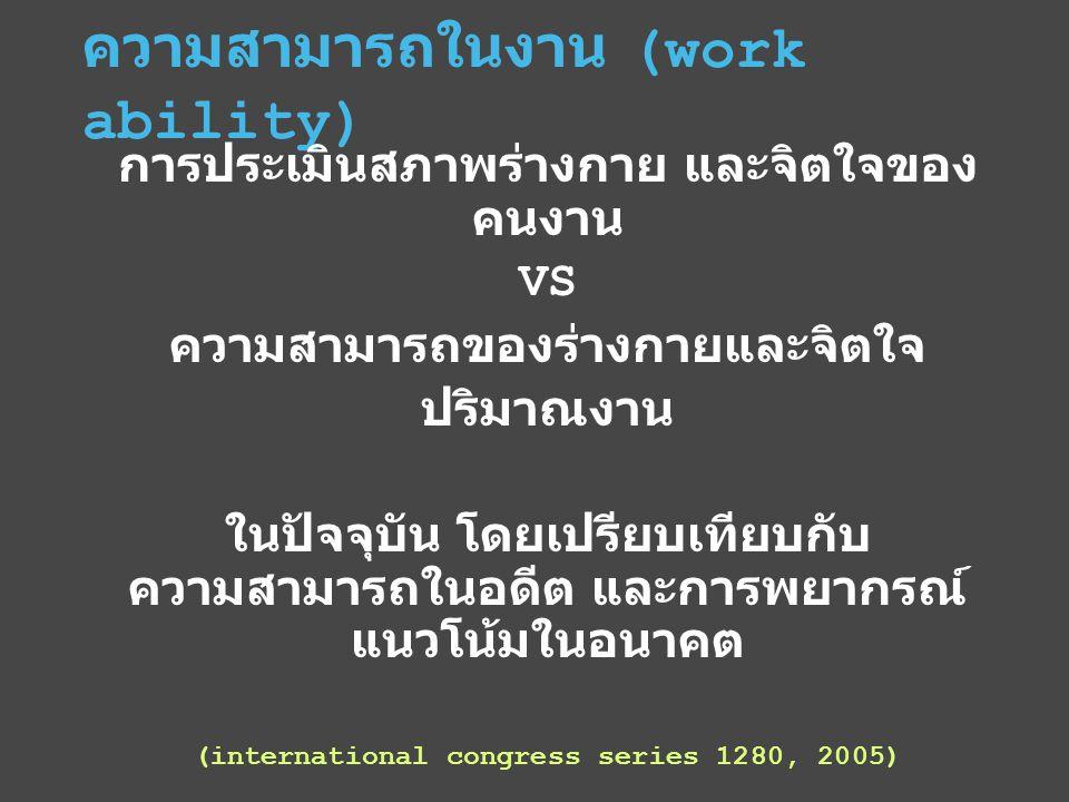 ความสามารถในงาน (work ability) การประเมินสภาพร่างกาย และจิตใจของ คนงาน VS ความสามารถของร่างกายและจิตใจ ปริมาณงาน ในปัจจุบัน โดยเปรียบเทียบกับ ความสามารถในอดีต และการพยากรณ์ แนวโน้มในอนาคต (international congress series 1280, 2005)