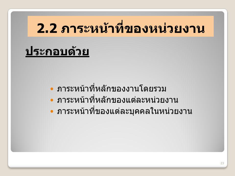 2.2 ภาระหน้าที่ของหน่วยงาน ภาระหน้าที่หลักของงานโดยรวม ภาระหน้าที่หลักของแต่ละหน่วยงาน ภาระหน้าที่ของแต่ละบุคคลในหน่วยงาน 23 ประกอบด้วย