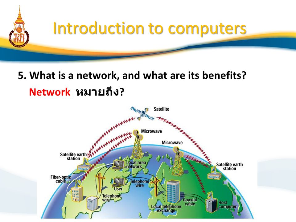 Introduction to computers 5. What is a network, and what are its benefits? Network หมายถึง ?