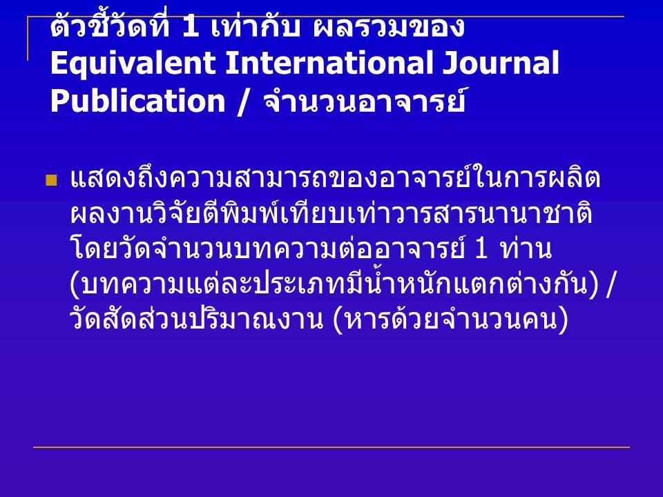 ตัวชี้วัดที่ 1 เท่ากับ ผลรวมของ Equivalent International Journal Publication / จำนวนอาจารย์ แสดงถึงความสามารถของอาจารย์ในการผลิต ผลงานวิจัยตีพิมพ์เทียบเท่าวารสารนานาชาติ โดยวัดจำนวนบทความต่ออาจารย์ 1 ท่าน ( บทความแต่ละประเภทมีน้ำหนักแตกต่างกัน ) / วัดสัดส่วนปริมาณงาน ( หารด้วยจำนวนคน )