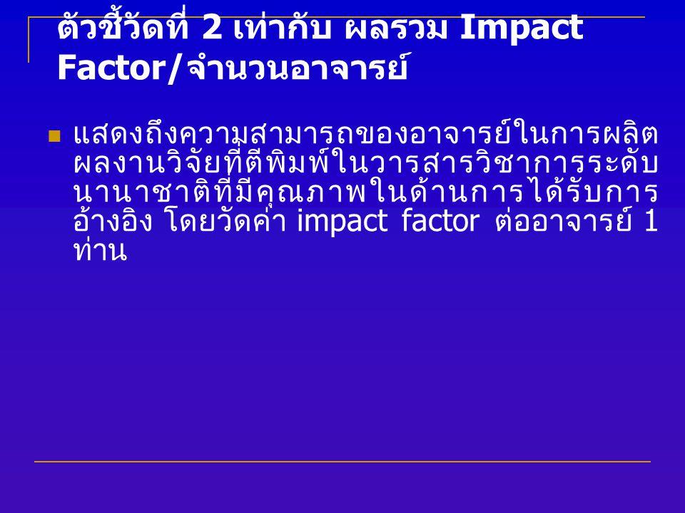 ตัวชี้วัดที่ 2 เท่ากับ ผลรวม Impact Factor/ จำนวนอาจารย์ แสดงถึงความสามารถของอาจารย์ในการผลิต ผลงานวิจัยที่ตีพิมพ์ในวารสารวิชาการระดับ นานาชาติที่มีคุณภาพในด้านการได้รับการ อ้างอิง โดยวัดค่า impact factor ต่ออาจารย์ 1 ท่าน