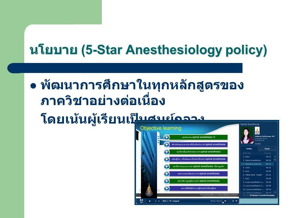 นโยบาย (5-Star Anesthesiology policy) พัฒนาการศึกษาในทุกหลักสูตรของ ภาควิชาอย่างต่อเนื่อง โดยเน้นผู้เรียนเป็นศูนย์กลาง