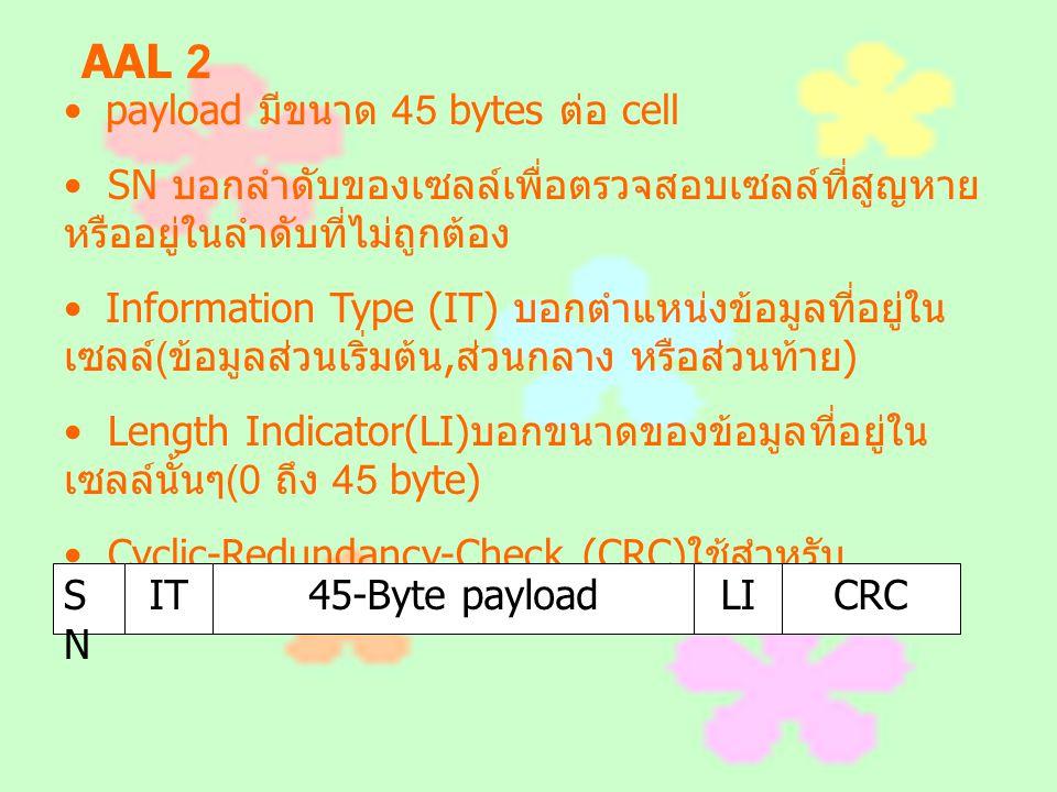 AAL 2 payload มีขนาด 45 bytes ต่อ cell SN บอกลำดับของเซลล์เพื่อตรวจสอบเซลล์ที่สูญหาย หรืออยู่ในลำดับที่ไม่ถูกต้อง Information Type (IT) บอกตำแหน่งข้อม