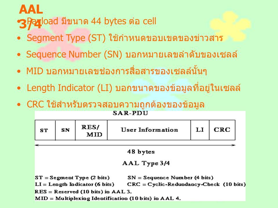 AAL 3/4 Payload มีขนาด 44 bytes ต่อ cell Segment Type (ST) ใช้กำหนดขอบเขตของข่าวสาร Sequence Number (SN) บอกหมายเลขลำดับของเซลล์ MID บอกหมายเลขช่องการ