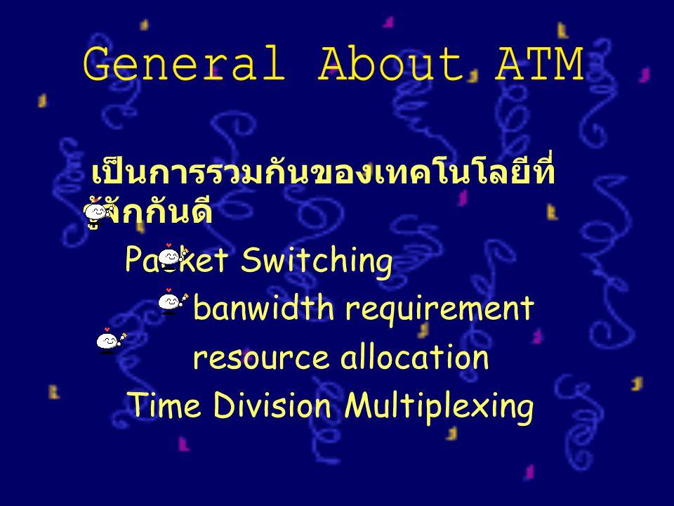 เป็นการรวมกันของเทคโนโลยีที่ รู้จักกันดี Packet Switching banwidth requirement resource allocation Time Division Multiplexing