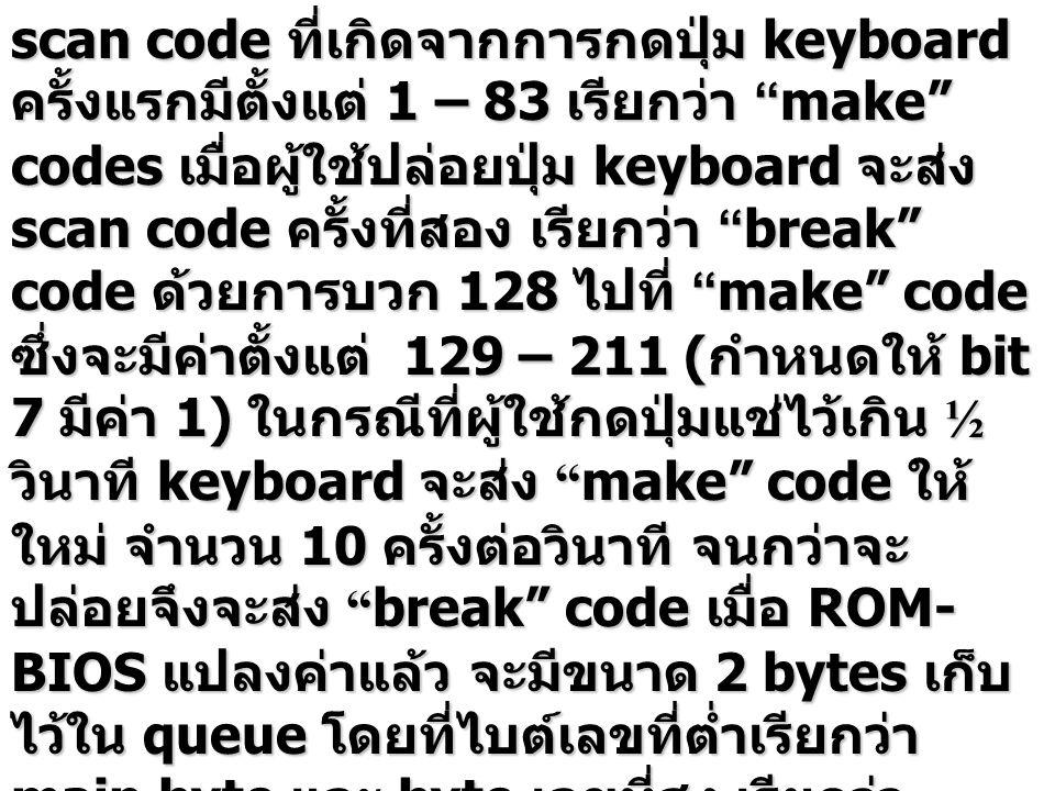 """scan code ที่เกิดจากการกดปุ่ม keyboard ครั้งแรกมีตั้งแต่ 1 – 83 เรียกว่า """"make"""" codes เมื่อผู้ใช้ปล่อยปุ่ม keyboard จะส่ง scan code ครั้งที่สอง เรียกว"""