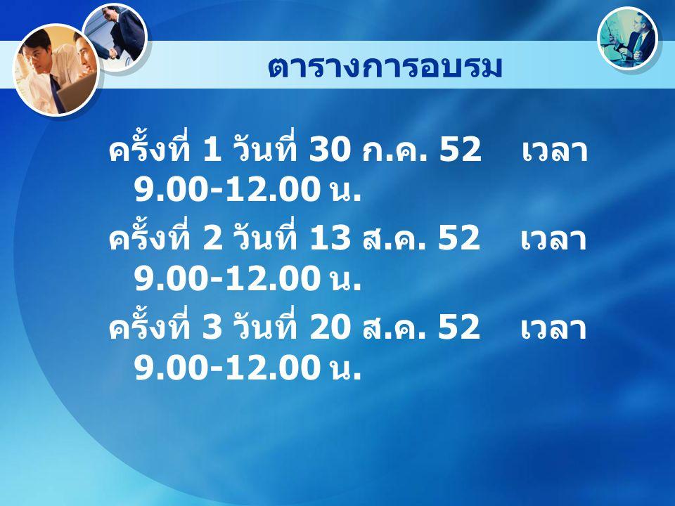 ตารางการอบรม ครั้งที่ 1 วันที่ 30 ก. ค. 52 เวลา 9.00-12.00 น. ครั้งที่ 2 วันที่ 13 ส. ค. 52 เวลา 9.00-12.00 น. ครั้งที่ 3 วันที่ 20 ส. ค. 52 เวลา 9.00