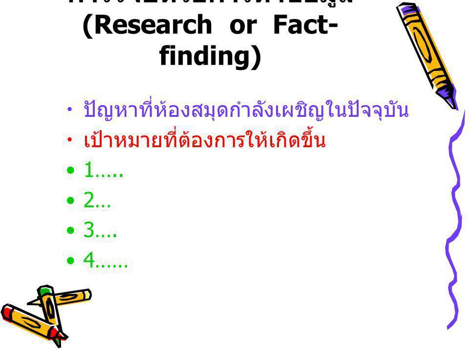การวิจัยหรือการหาข้อมูล (Research or Fact- finding) ปัญหาที่ห้องสมุดกำลังเผชิญในปัจจุบัน เป้าหมายที่ต้องการให้เกิดขึ้น 1…..