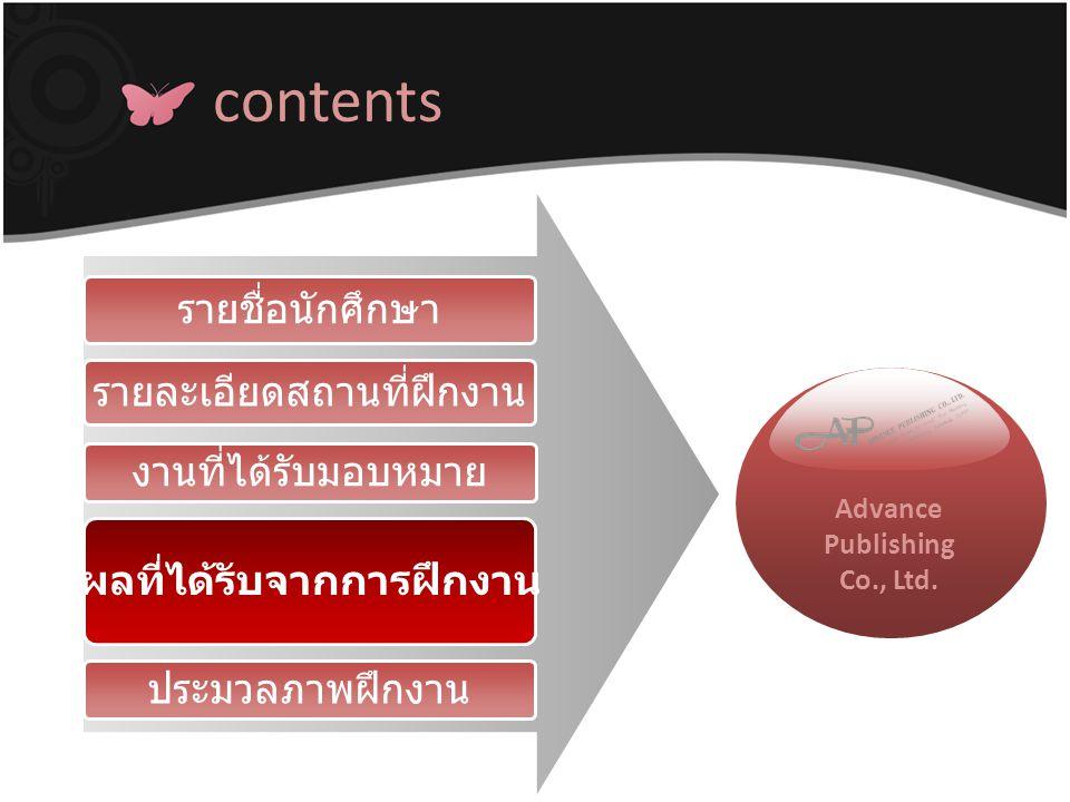 contents ผลที่ได้รับจากการฝึกงาน งานที่ได้รับมอบหมาย รายละเอียดสถานที่ฝึกงาน รายชื่อนักศึกษา ประมวลภาพฝึกงาน Advance Publishing Co., Ltd.