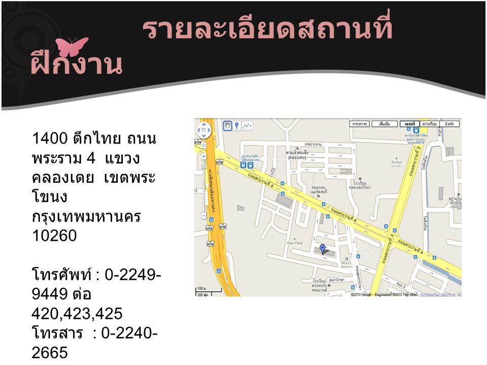 รายละเอียดสถานที่ ฝึกงาน 1400 ตึกไทย ถนน พระราม 4 แขวง คลองเตย เขตพระ โขนง กรุงเทพมหานคร 10260 โทรศัพท์ : 0-2249- 9449 ต่อ 420,423,425 โทรสาร : 0-2240- 2665