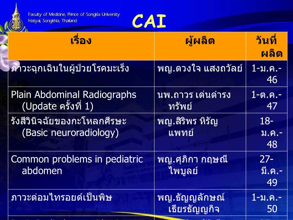 CAI เรื่องผู้ผลิตวันที่ ผลิต ภาวะฉุกเฉินในผู้ป่วยโรคมะเร็งพญ. ดวงใจ แสงถวัลย์ 1- ม. ค.- 46 Plain Abdominal Radiographs (Update ครั้งที่ 1) นพ. ถาวร เด