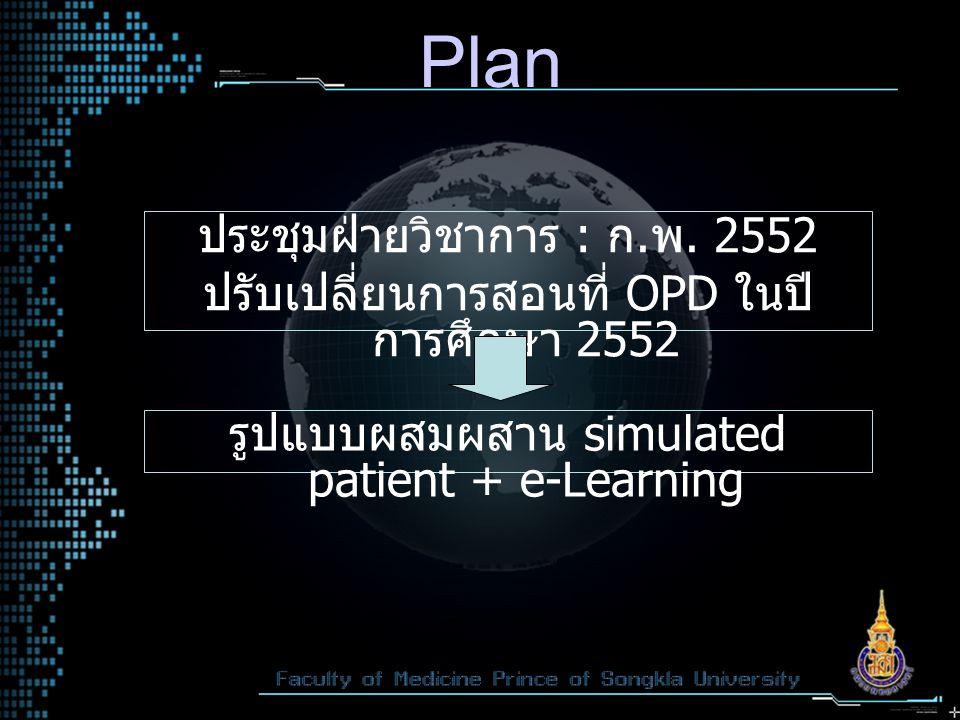 Plan ประชุมฝ่ายวิชาการ : ก. พ. 2552 ปรับเปลี่ยนการสอนที่ OPD ในปี การศึกษา 2552 รูปแบบผสมผสาน simulated patient + e-Learning