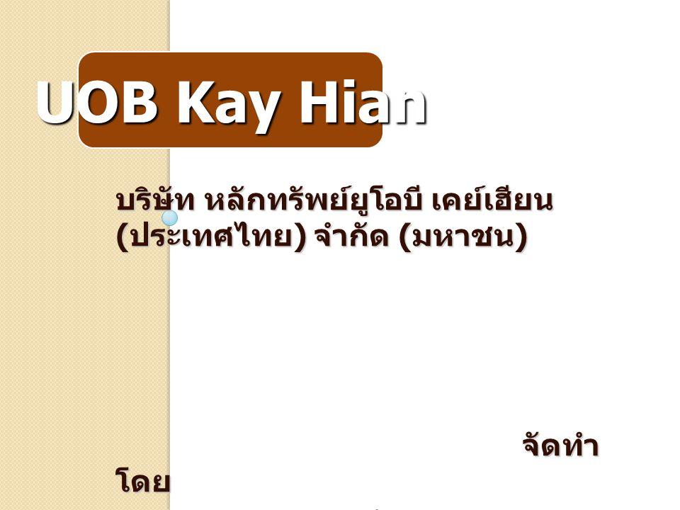 UOB Kay Hian บริษัท หลักทรัพย์ยูโอบี เคย์เฮียน ( ประเทศไทย ) จำกัด ( มหาชน ) จัดทำ โดย นายธัญนุกร ห้วยทิพย์ 5035511022