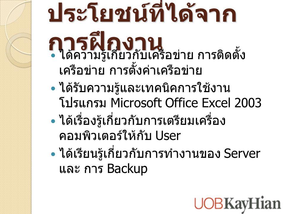 ประโยชน์ที่ได้จาก การฝึกงาน ได้ความรู้เกี่ยวกับเครือข่าย การติดตั้ง เครือข่าย การตั้งค่าเครือข่าย ได้รับความรู้และเทคนิคการใช้งาน โปรแกรม Microsoft Office Excel 2003 ได้เรื่องรู้เกี่ยวกับการเตรียมเครื่อง คอมพิวเตอร์ให้กับ User ได้เรียนรู้เกี่ยวกับการทำงานของ Server และ การ Backup