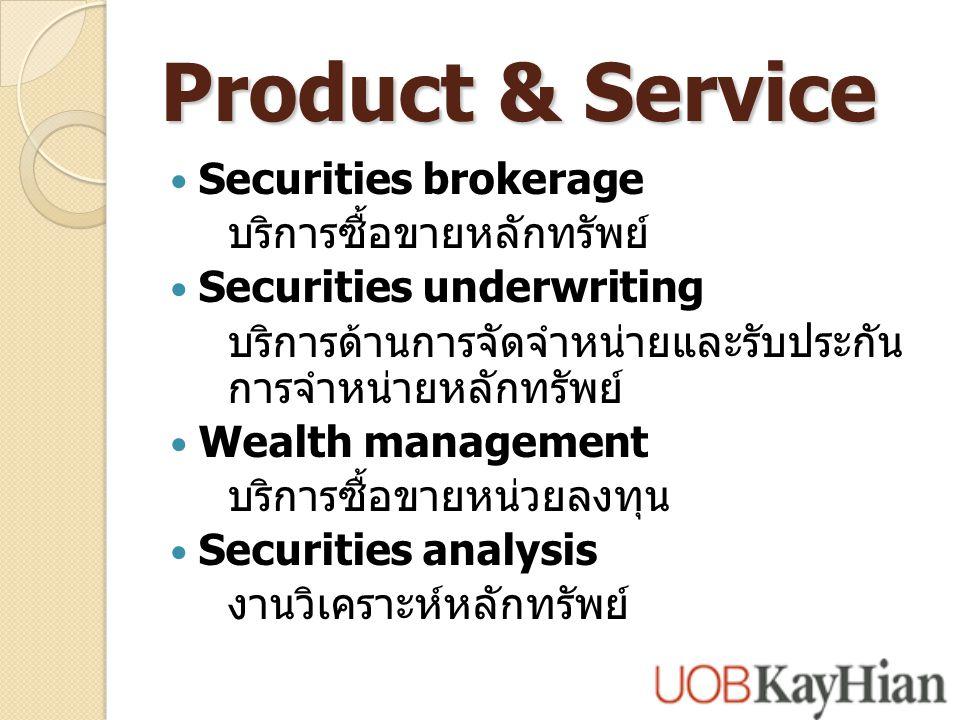 Product & Service Securities brokerage บริการซื้อขายหลักทรัพย์ Securities underwriting บริการด้านการจัดจำหน่ายและรับประกัน การจำหน่ายหลักทรัพย์ Wealth