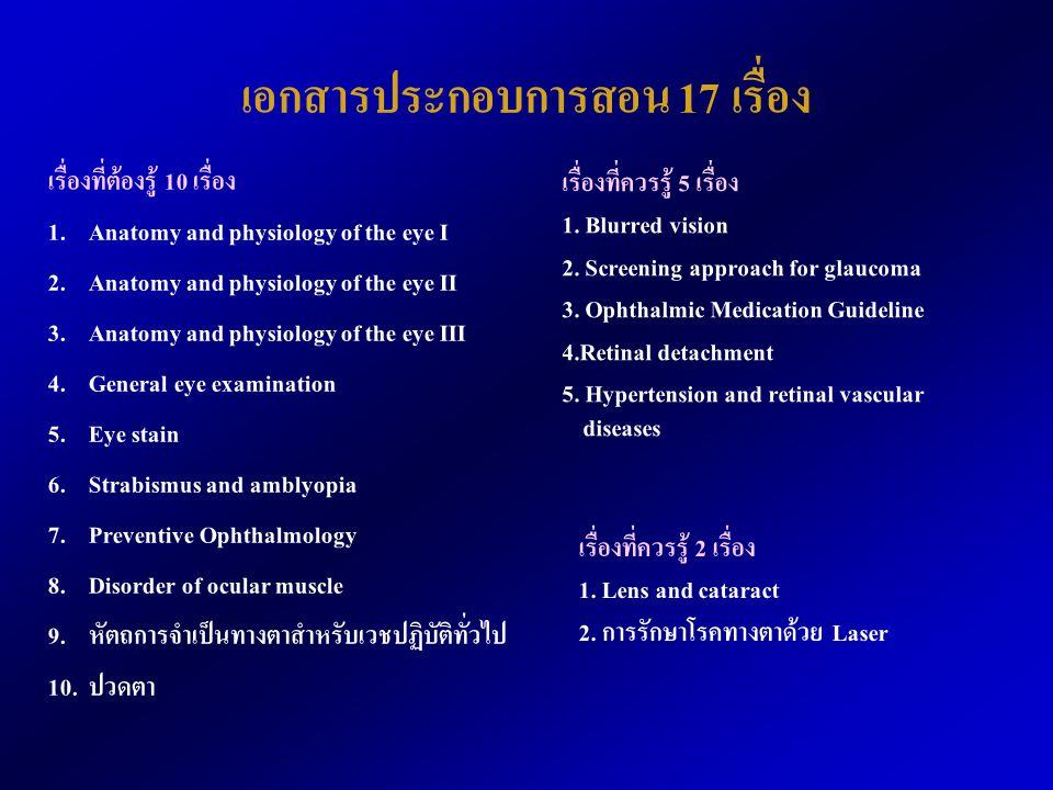 เอกสารประกอบการสอน 17 เรื่อง เรื่องที่ต้องรู้ 10 เรื่อง 1. Anatomy and physiology of the eye I 2. Anatomy and physiology of the eye II 3. Anatomy and