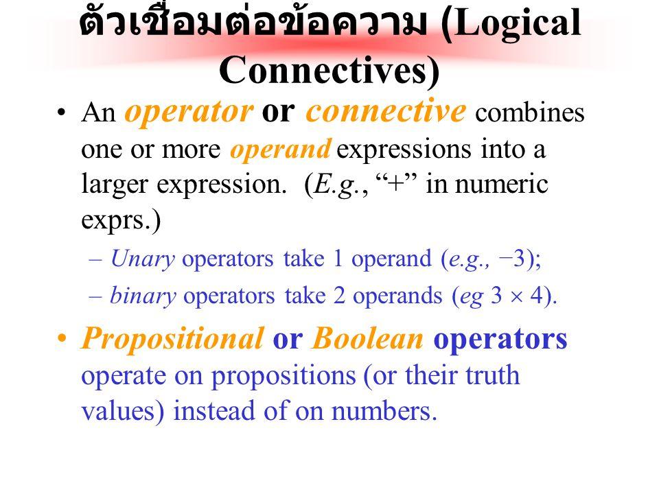 นิยามของประพจน์ นิยาม : ประพจน์ใดๆ ( มักจะแทนด้วย p, q, r, …) ก็คือ : ข้อความ ( ส่วนใหญ่แล้วจะอยู่ในรูปของ ประโยค ) ที่มีความหมายบางอย่างและ ความหมายจ