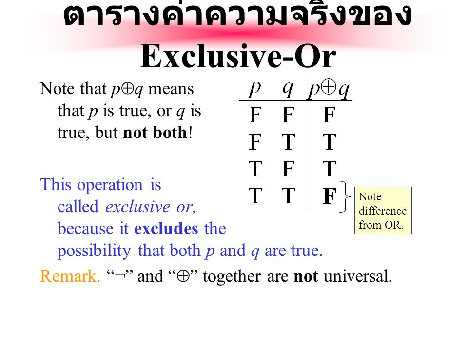 The Exclusive Or Operator The binary exclusive-or operator  (XOR) combines two propositions to form their logical exclusive or (exjunction?).