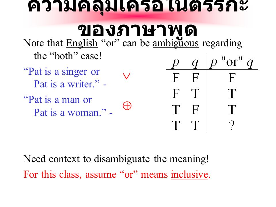 ตารางค่าความจริงของ Exclusive-Or Note that p  q means that p is true, or q is true, but not both.