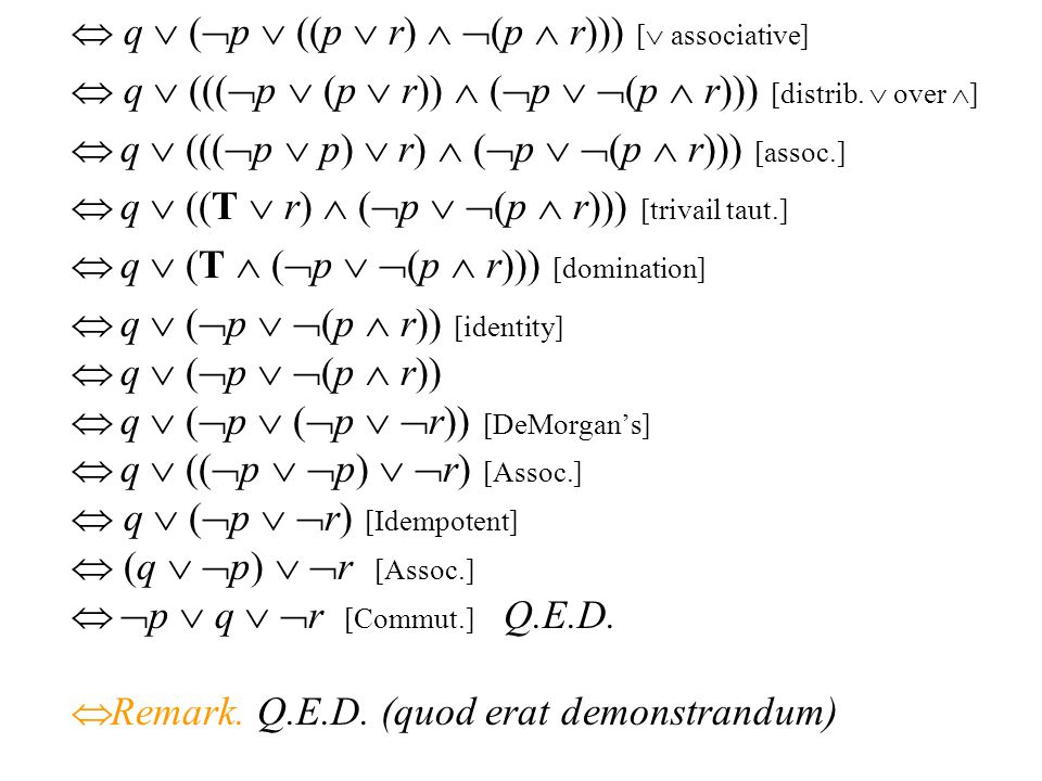 ตัวอย่างของความสมมูล Check using a symbolic derivation whether (p   q)  (p  r)   p  q   r. (p   q)  (p  r)   (p   q)  (p  r) [Expan