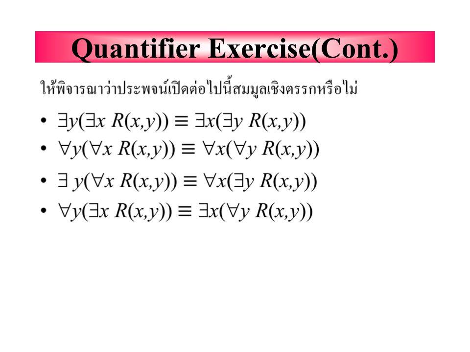 """Quantifier Exercise กำหนดให้ R(x,y)=""""x รัก y,"""" ให้เขียนประพจน์ เปิดต่อไปนี้เป็นประโยค :  x(  y R(x,y))=  y(  x R(x,y))=  x(  y R(x,y))=  y(  x"""