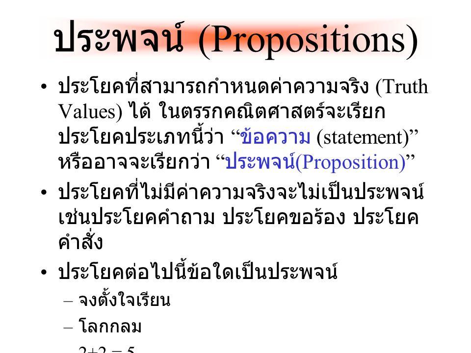 ประพจน์ (Propositions) ประโยคที่สามารถกำหนดค่าความจริง (Truth Values) ได้ ในตรรกคณิตศาสตร์จะเรียก ประโยคประเภทนี้ว่า ข้อความ (statement) หรืออาจจะเรียกว่า ประพจน์ (Proposition) ประโยคที่ไม่มีค่าความจริงจะไม่เป็นประพจน์ เช่นประโยคคำถาม ประโยคขอร้อง ประโยค คำสั่ง ประโยคต่อไปนี้ข้อใดเป็นประพจน์ – จงตั้งใจเรียน – โลกกลม –2+2 = 5