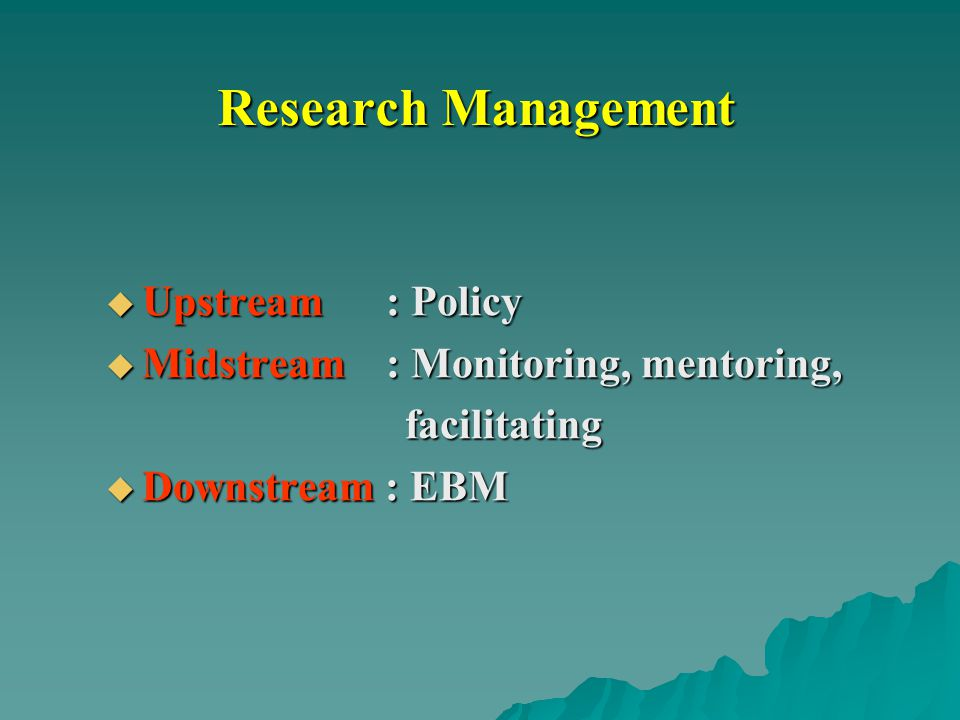 Research Management  Upstream : Policy  Midstream : Monitoring, mentoring, facilitating facilitating  Downstream : EBM