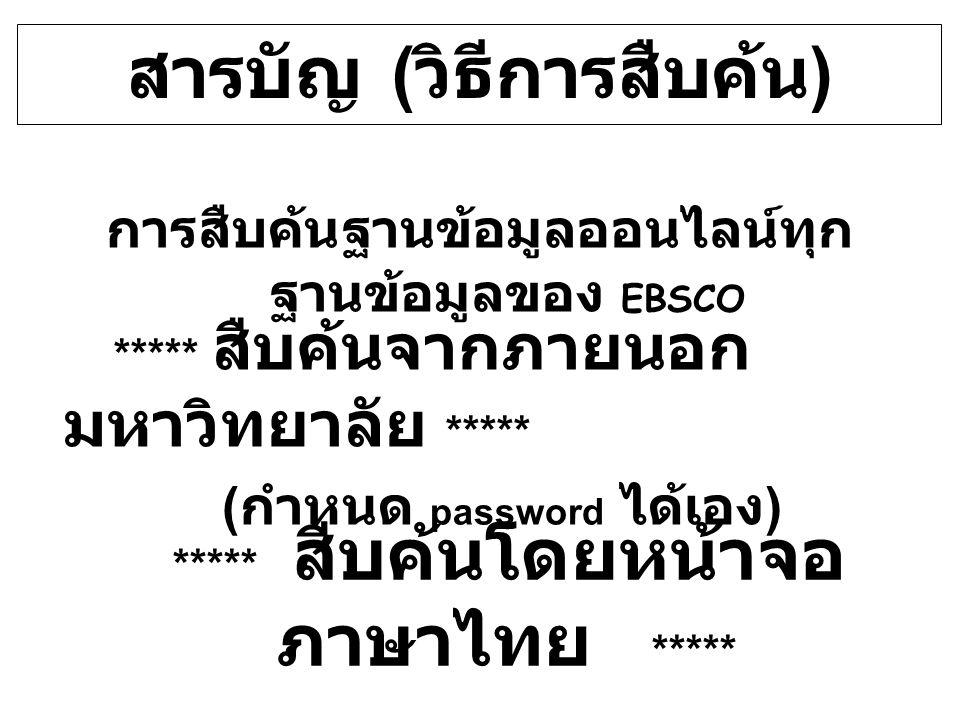 สารบัญ ( วิธีการสืบค้น ) การสืบค้นฐานข้อมูลออนไลน์ทุก ฐานข้อมูลของ EBSCO ***** สืบค้นโดยหน้าจอ ภาษาไทย ***** ***** สืบค้นจากภายนอก มหาวิทยาลัย ***** (