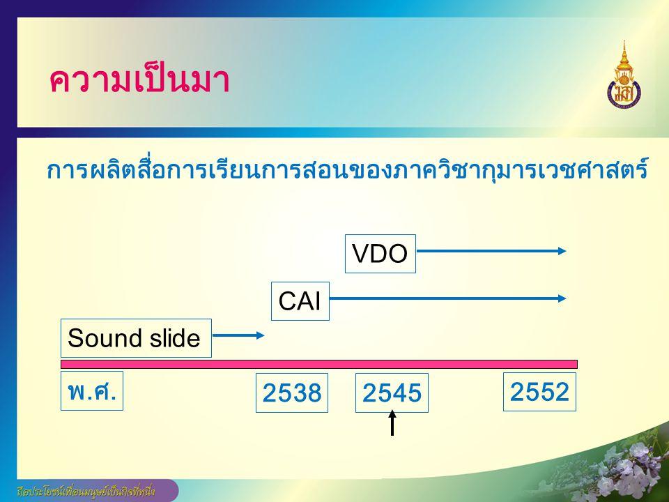 ความเป็นมา 25382545 พ.ศ.พ.ศ. Sound slide CAI VDO 2552 การผลิตสื่อการเรียนการสอนของภาควิชากุมารเวชศาสตร์