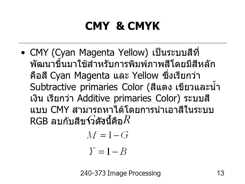 240-373 Image Processing13 CMY & CMYK CMY (Cyan Magenta Yellow) เป็นระบบสีที่ พัฒนาขึ้นมาใช้สำหรับการพิมพ์ภาพสีโดยมีสีหลัก คือสี Cyan Magenta และ Yell