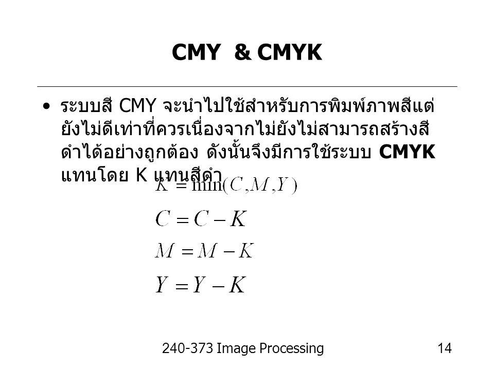 240-373 Image Processing14 CMY & CMYK ระบบสี CMY จะนำไปใช้สำหรับการพิมพ์ภาพสีแต่ ยังไม่ดีเท่าที่ควรเนื่องจากไม่ยังไม่สามารถสร้างสี ดำได้อย่างถูกต้อง ด