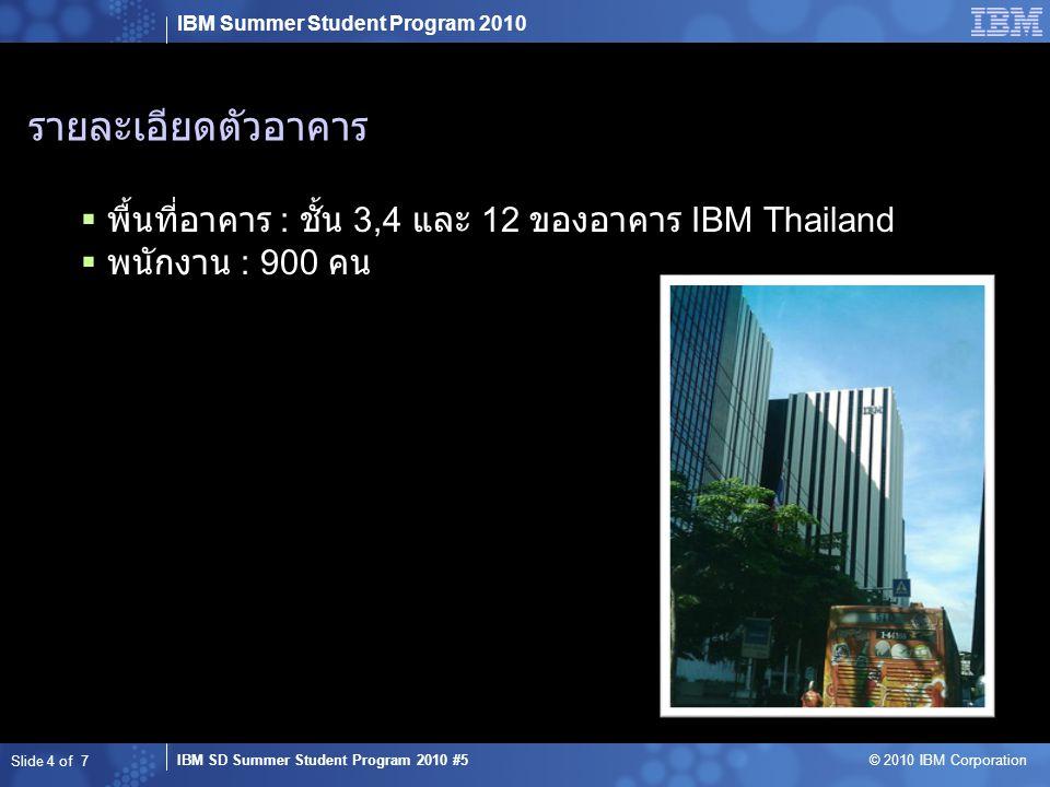 IBM Summer Student Program 2010 IBM SD Summer Student Program 2010 #5 © 2010 IBM Corporation รายละเอียดตัวอาคาร  พื้นที่อาคาร : ชั้น 3,4 และ 12 ของอา
