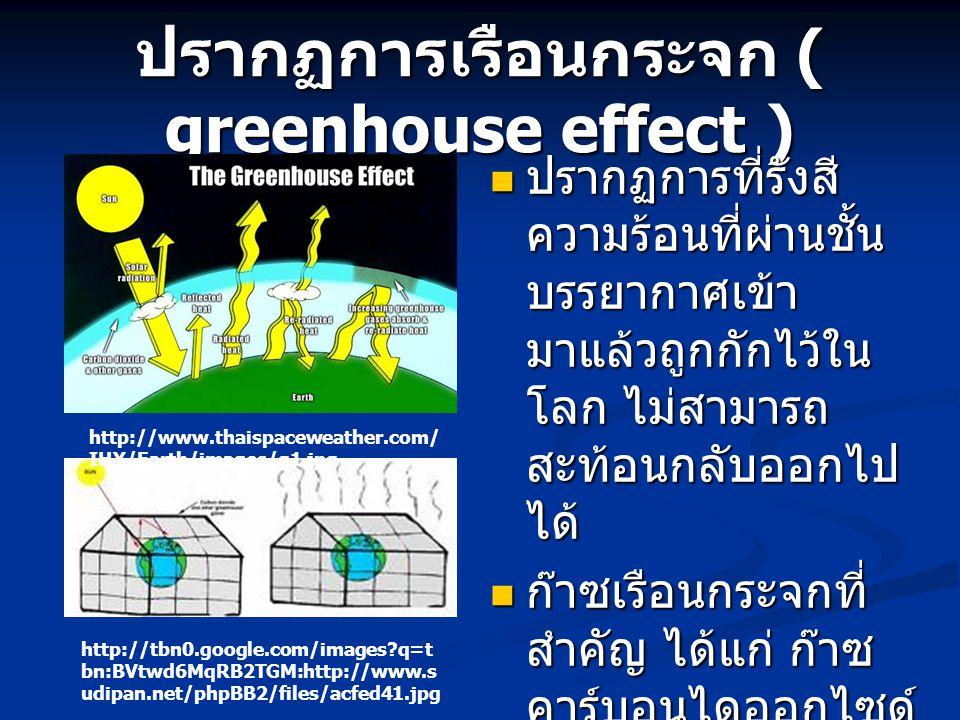 ปรากฏการเรือนกระจก ( greenhouse effect ) ปรากฏการที่รังสี ความร้อนที่ผ่านชั้น บรรยากาศเข้า มาแล้วถูกกักไว้ใน โลก ไม่สามารถ สะท้อนกลับออกไป ได้ ปรากฏกา