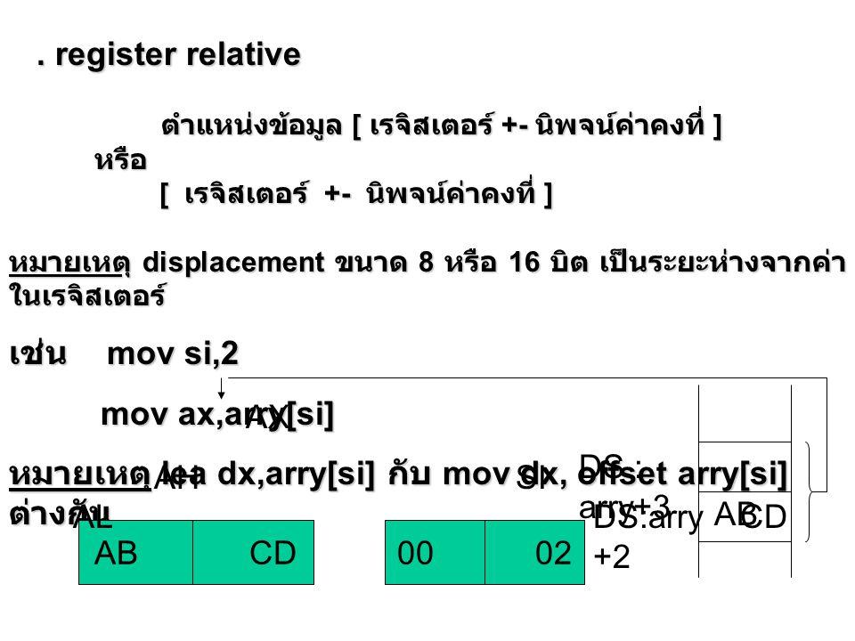 . base indexed [ เรจิสเตอร์ฐาน ] [ เรจิสเตอร์ดรรชนี ] [ เรจิสเตอร์ฐาน ] [ เรจิสเตอร์ดรรชนี ] เช่น mov ax,[bx][si] AB CD AX AH AL BX AB CD SI DS:0 000