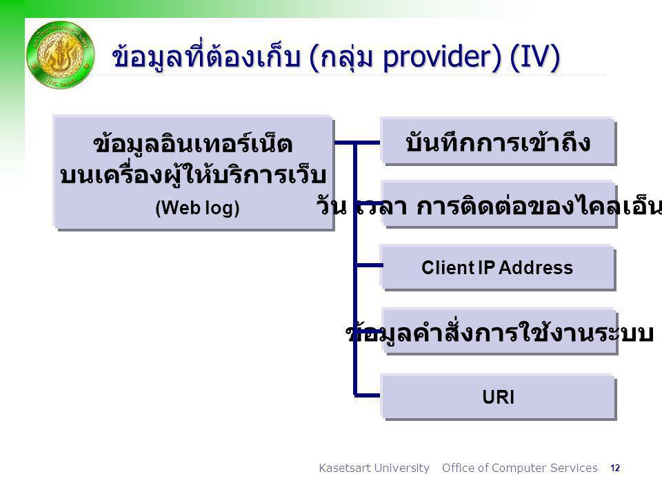 12 Kasetsart University Office of Computer Services ข้อมูลที่ต้องเก็บ (กลุ่ม provider) (IV) ข้อมูลอินเทอร์เน็ต บนเครื่องผู้ให้บริการเว็บ (Web log) บันทึกการเข้าถึง วัน เวลา การติดต่อของไคลเอ็นต์ Client IP Address ข้อมูลคำสั่งการใช้งานระบบ URI