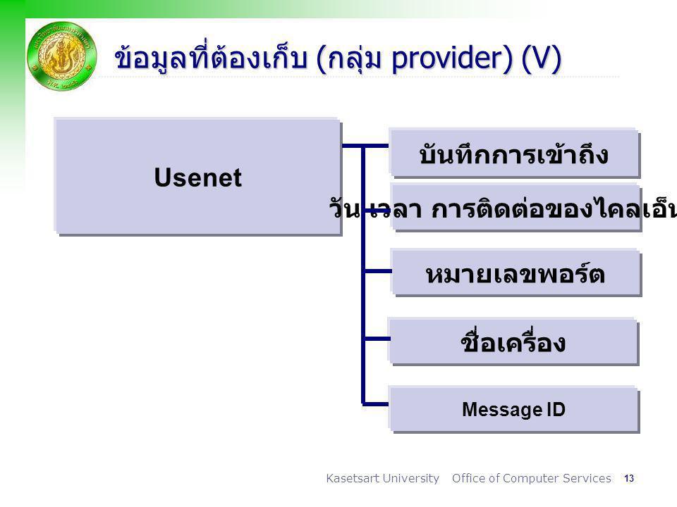 13 Kasetsart University Office of Computer Services ข้อมูลที่ต้องเก็บ (กลุ่ม provider) (V) Usenet บันทึกการเข้าถึง วัน เวลา การติดต่อของไคลเอ็นต์ หมายเลขพอร์ต ชื่อเครื่อง Message ID