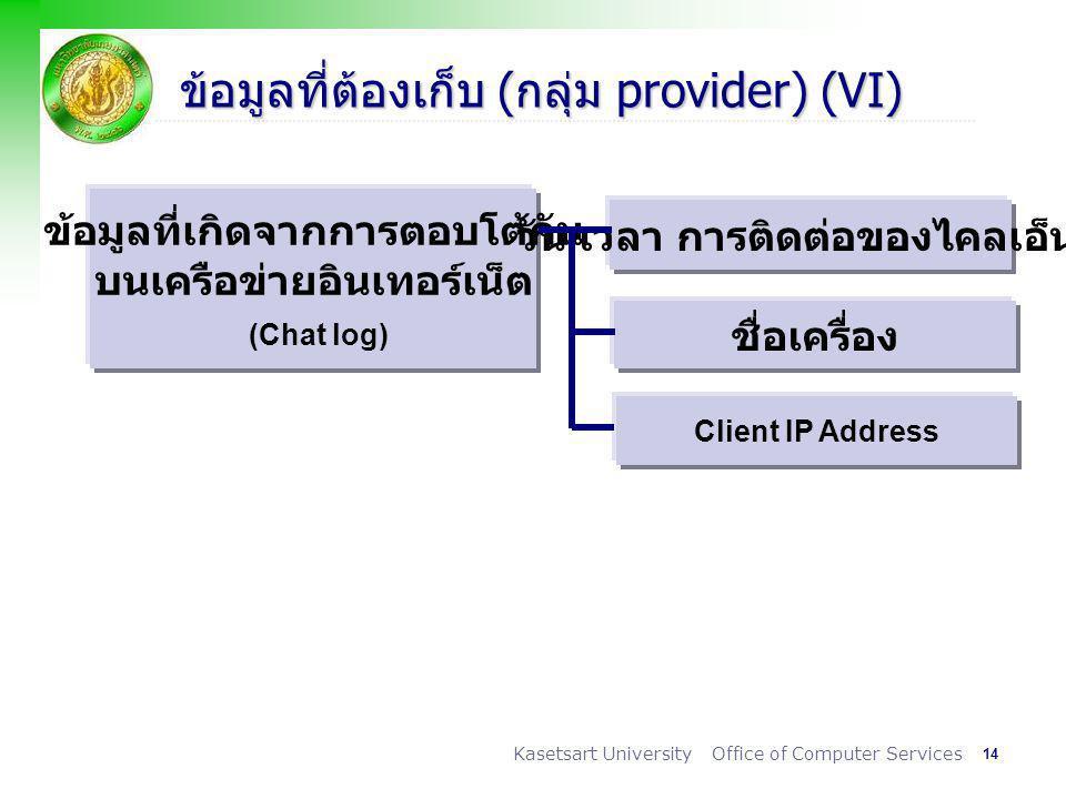 14 Kasetsart University Office of Computer Services ข้อมูลที่ต้องเก็บ (กลุ่ม provider) (VI) ข้อมูลที่เกิดจากการตอบโต้กัน บนเครือข่ายอินเทอร์เน็ต (Chat log) วัน เวลา การติดต่อของไคลเอ็นต์ ชื่อเครื่อง Client IP Address