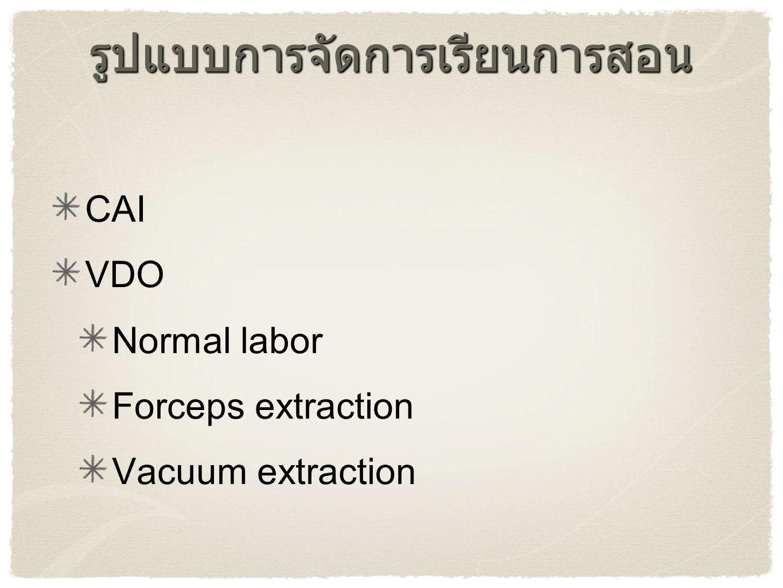 รูปแบบการจัดการเรียนการสอน CAI VDO Normal labor Forceps extraction Vacuum extraction