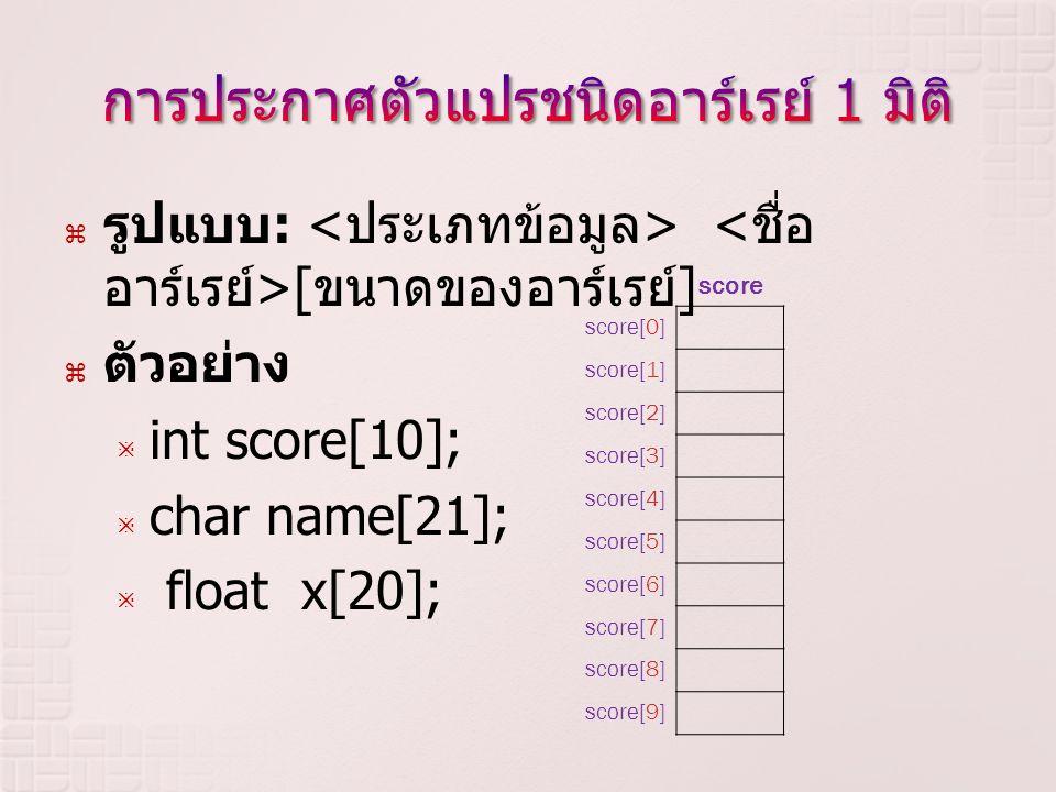  รูปแบบ : [ ขนาดของอาร์เรย์ ]  ตัวอย่าง  int score[10];  char name[21];  float x[20]; score score[0] score[1] score[2] score[3] score[4] score[5]