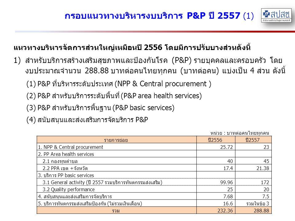 กรอบแนวทางบริหารงบบริการ P&P ปี 2557 (1) แนวทางบริหารจัดการส่วนใหญ่เหมือนปี 2556 โดยมีการปรับบางส่วนดังนี้ 1)สำหรับบริการสร้างเสริมสุขภาพและป้องกันโรค