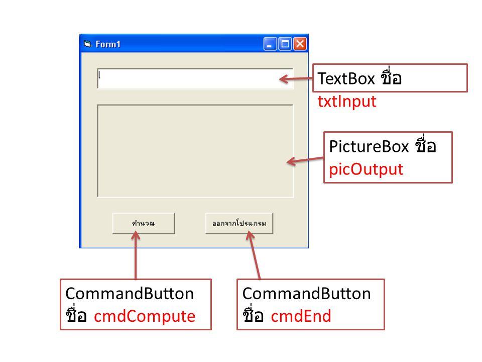 TextBox ชื่อ txtInput PictureBox ชื่อ picOutput CommandButton ชื่อ cmdCompute CommandButton ชื่อ cmdEnd